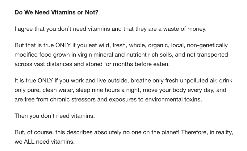 Do We Need Vitamins?